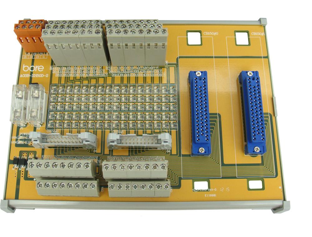 Bore訊號轉接模組 – A03B-XH系列,適用於FANUC A03B系列控制器。此系列提供兩種轉接方式 : HONDA連接器插扣式與或端子台配線方式;同時搭配bore傳輸線FP-M_M系列或CJ1-M_M系列,與IDC連接器的雙向連接,達到I/O訊號的轉接應用。此外,亦提供不同模組數(1, 2, 3, 4組)作為選用。 特色 : 採用雙層歐規端子台 1A保險絲電源側入力保護 20-pin IDC連接器應用 LED綠光電源狀態指示 LED橙光輸入/輸出動作狀態指示 每一HONDA連接器提供2